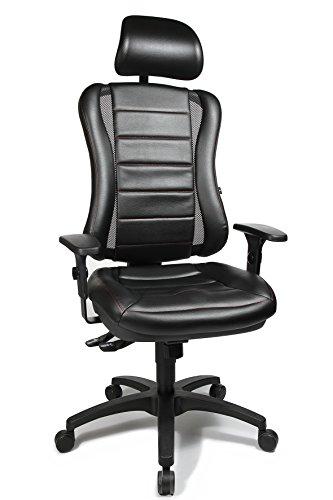 """Topstar HE30P S100RX Head Point RS """"P4"""", Bürostuhl, Schreibtischstuhl, inkl. höhenverstellbare Armlehnen, Kopfstütze, Polsterung schwarz, rote Steppnaht"""