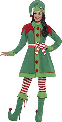 Smiffy's 46129M - Damen Elfen Kostüm, Kleid, Hut, Stiefel Überzieher, Strumpfhose und Gürtel, Größe: 40-42, grün (Herren Grün Kostüm Stiefel)