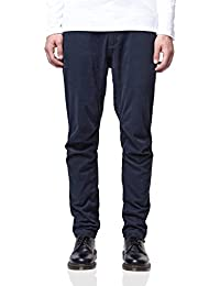 NOWADAYS - Herren- Marineblaue Chino-Hose Tapered Fit Flap Pocket für herren