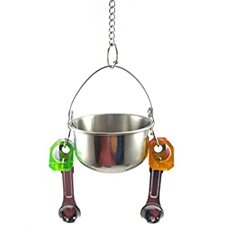 KaariFirefly Birds Parrots Stand Hanging Stainless Steel Food Cup Holder Swing with 2 Spoons - Random Color L 24