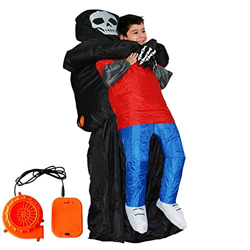 Lvbeis Kind Sensenmann Kostüm Aufblasbare Costume for Halloween Horror Party Outfit Für Größe 120-140CM