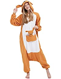 Kigurumi Pijama Animal Entero Unisex para Adultos con Capucha Cosplay Pyjamas Canguro Ropa de Dormir Traje de Disfraz para Festival de Carnaval Halloween Navidad