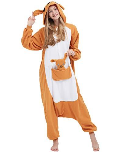 Adult Kostüm Känguru - Jumpsuit Onesie Tier Karton Fasching Halloween Kostüm Sleepsuit Cosplay Overall Pyjama Schlafanzug Erwachsene Unisex Lounge Kigurumi Känguru for Höhe 140-187CM