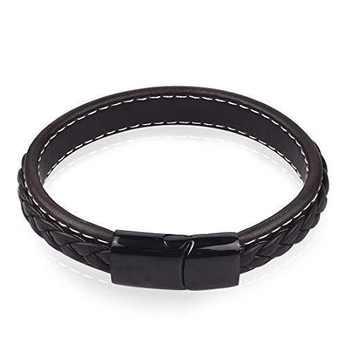 OBSEDE Pulsera De Cuero Vintage 22 Cm Hombre Trenzado Brazalete Wrap Negro