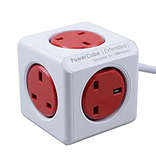 PowerCube 5 Outlets 3M Extension Cord Wall Adapter with Resettable Fuse (Red)
