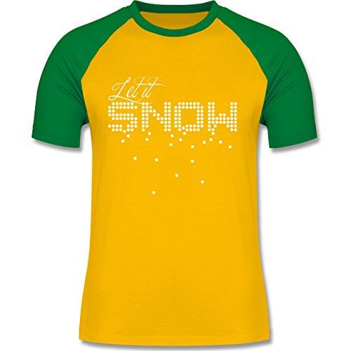 Weihnachten & Silvester - Let it snow Schneeflocken - zweifarbiges Baseballshirt für Männer Gelb/Grün