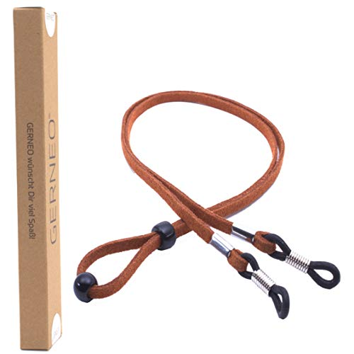 GERNEO - DAS ORIGINAL - Premium Brillenband in hochwertiger Wildlederoptik - braun - für Lesebrille & Sonnenbrille