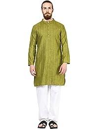 Vivids India Men's Green Long Kurta - G183