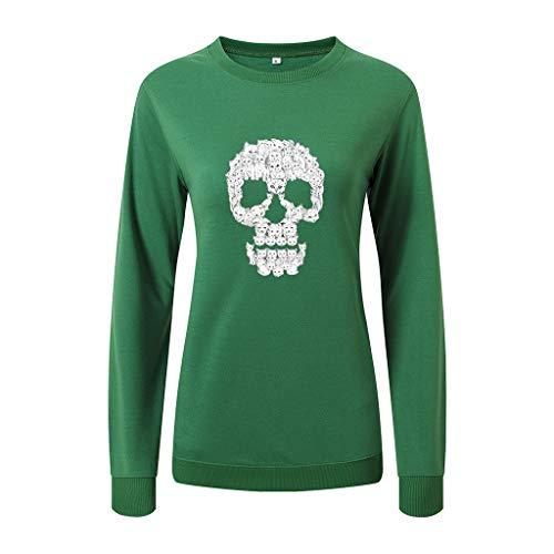 SEWORLD Halloween Kostüm Damen Blusenshirts Freizeithemd Langarm Bluse O-Ausschnitt Schädel Top Pullover Sweatshirt Bluse Outwear Sweatshirt Kapuzenjacke Mantel(Grün,EU-40/CN-XL)