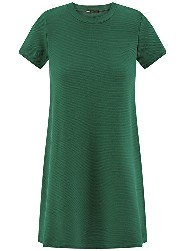 oodji Ultra Damen A-Linie-Kleid Gerippt Grün (6E00N)