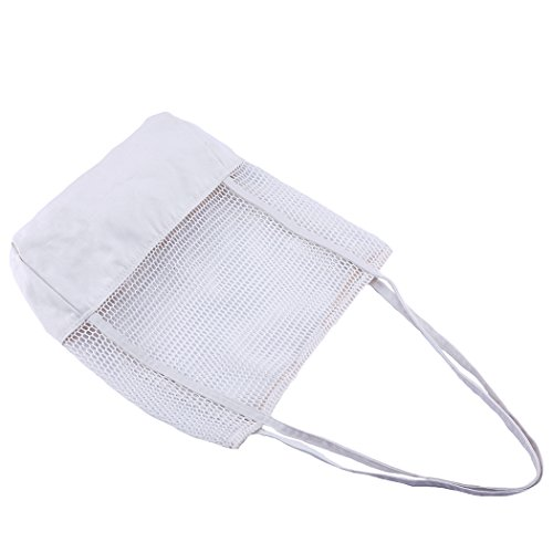 Amoyie Einkaufsnetz Netze Tasche Kartoffelsack aus Bio-Baumwollschnur Wiederverwendbar Organizer Einkaufstasche Handtasche Obsthorde Shopper Bag, Weiß (Bio-shopper)