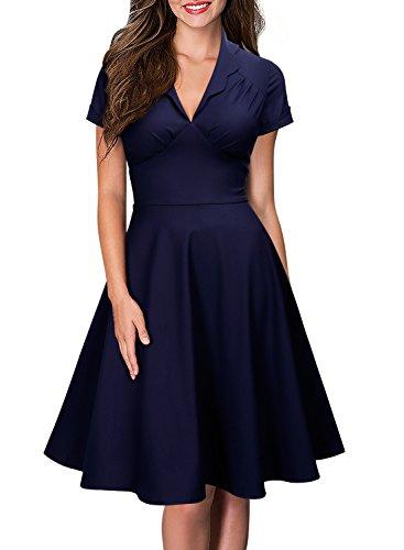 Miusol Damen Kurzarm Vintage 50er Jahr Rockabilly Kleider Abendklieder Dunkelblau L