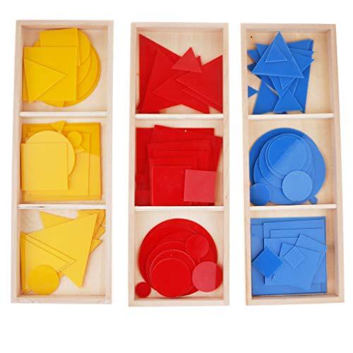 Sharplace Juguete Montessori de Tarjetas Geométricas de Madera Colordio Juego para Aprendizaje de Matemáticas de Niños
