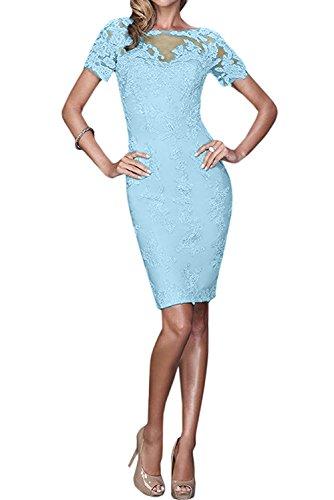 Sunvary Damen Spitze Rund Kurzarm Cocktailkleider Kurz Partykleider Abendkleider Blau