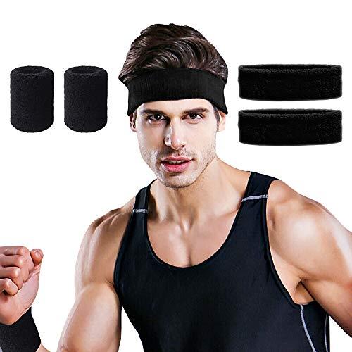 Handgelenk bandagen,Sport Stirnband,Hually [2 Stück] Schweißband aus Baumwolle Unisex Headband ideal für Tennis, Laufen, Crossfit, Fitness für Damen und Herren -Schwarz -