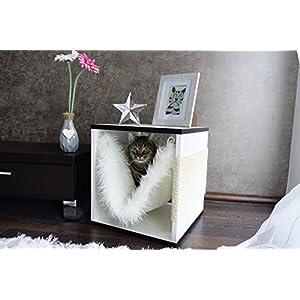 Kratz die Katz Design – Kratzbaum/Kratzwürfel/Katzenmöbel/Beistelltisch/Farbenspiel in Weiß/Schwarz (Matt)