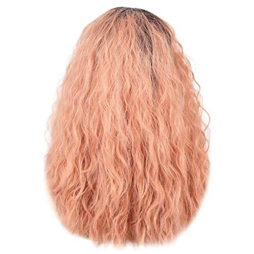 kashyk Brasilianische Bob Curly Pink Lace Front Kurze volle Perücke, Frauen gewellte lockige niedliche charmante Farbverlauf Pink natürlich aussehende volle Perücken (Niedliche Klebeband Halloween-kostüme)