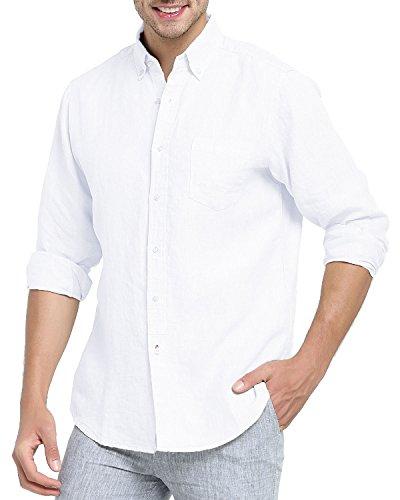 Najia Symbol Herren 100% Leinen Freizeit Hemden Langarm Comfort Fit 340 (Weiß, S/DE 46)