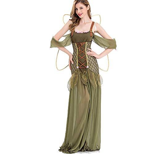 Prinzessin Kostüm Womens Elf - C&NN Green Elf Women Dress Weihnachten Ostern Halloween Cosplay Kostüme mit Flügel,M