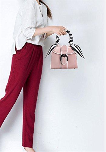 Xinmaoyuan Borse donna borsette in cuoio strisce di moda decorazione piccola piazza Borsa borsetta pacchetto diagonale Rosa