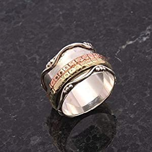 Meditationsringe, Spinnerringe, Silberringe für Frauen, Spinning Ring for Women, Textured Spinner Band Rings, Anxiety Ring for Meditaion, 925 Sterling Silver Band, Brass and Copper Spinner Ring