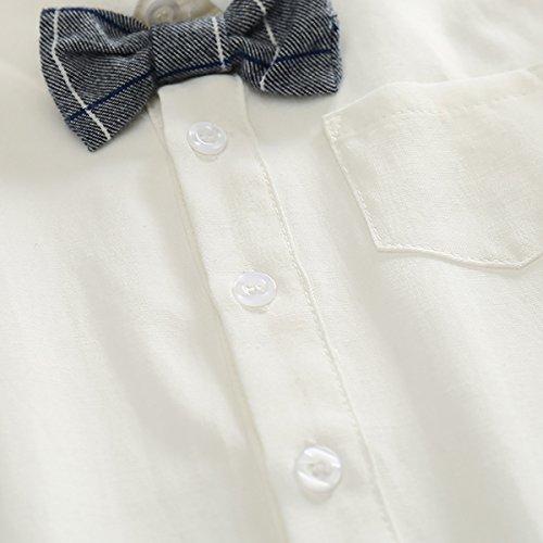 Feoya Jungen Outfits langarm Frühlinganzug Fliege Taufanzug Baby Baumwolle Hemd Hose Set Hochzeit Anzug 6-9 Monaten - 4