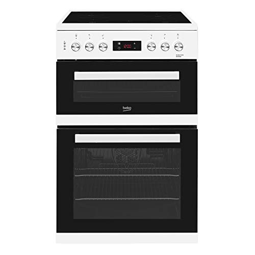 41XhzKglx3L. SS500  - Beko KDC653W 60cm Double Oven 4 Burners Ceramic Cooker in White with Fully Programmable Timer