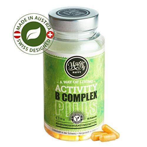 Vitamin B Komplex Natürlich - 60 Vegetarische Kapseln - Mit Allen B Vitaminen - 2 Monatskurs - B1 B2 B3 B5 B6 B7 B9 B12 - Thiamin Riboflavin Niacin D-Pantothensäure Folsäure Biotin