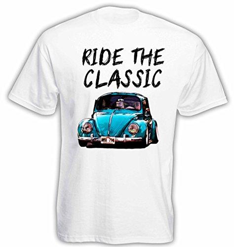 Lulchev Design VW Beetle Classic Herren T Shirt T-Shirt Kurzarm (Weiss, XL) -