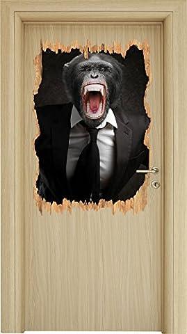 Mad Monkey dans une percée en bois de costume en apparence 3D, la taille de la vignette mur ou de porte: 92x62cm, stickers muraux, sticker mural, décoration