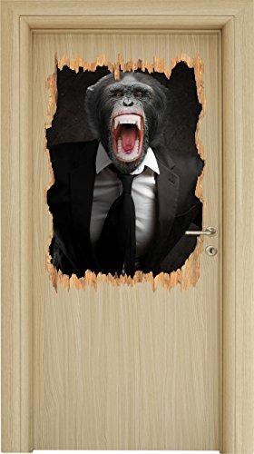 Wütender Affe im Anzug Holzdurchbruch im 3D-Look , Wand- oder Türaufkleber Format: 92x62cm, Wandsticker, Wandtattoo, Wanddekoration