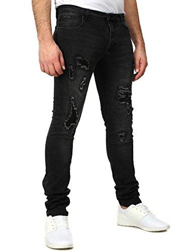 Free Side Homme Jeans MADRID Mince Fit détruit Millésime Regardez facilement Insipide Noir