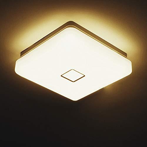 Onforu 24W LED Plafón Lámpara de Techo, 90 Ra IP65 Impermeable 2100LM, Igual al 220W Bombilla Incandescente, 2700K Blanco Cálido Luz Cuadrada Φ28CM Moderna para Salón Cocina Dormitorio Baño