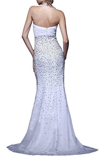 Gorgeous Bride Fashion Neckholder Lang Chiffon Meerjungfrau Schleppe Abendkleider Lang Cocktailkleider Ballkleider Rosa