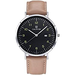 Calister BAU005 Swiss Quartz Men's Watch, Analogue, Leather Bracelet, Beige