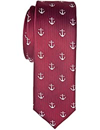 """Retreez Classic Anchor Pattern Woven Microfiber 2"""" Skinny Tie - Various Colors"""