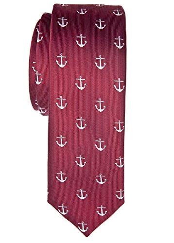 Retreez Klassische Krawatte mit Ankermuster, gewebte Mikrofaser, 5cm, in verschiedenen Farben Gr. Einheitsgröße, burgunderfarben