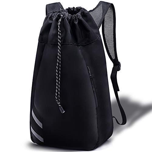H&L HIGHLAND Rucksack mit Kordelzug, wasserdicht, groß, Polyester, verstellbare Netzstreifen, Sporttasche, für Basketball, Fußball, Yogamatte, Schwimmanzüge, 55,9 x 30,5 x 19,1 cm, 35 l -