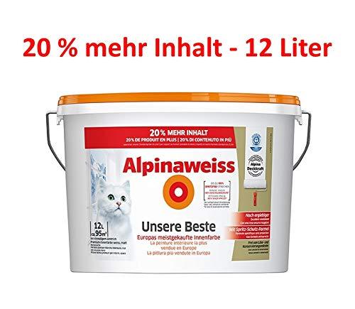 12 Liter Alpinaweiß Unsere Beste - weiße Innenfarbe Matt, spritzfrei, beste Deckkraft - 20% mehr Inhalt