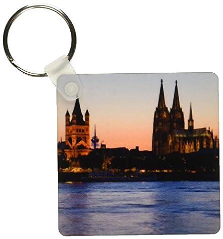 3dRose Cologne Skyline, Rhine, Gross St Marin, Germany Key Chains, 2.25