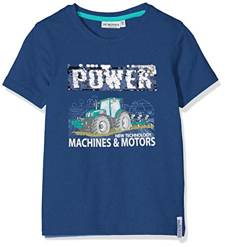 SALT AND PEPPER Jungen Tractor Wendepaillette T-Shirt, Blau (French Blue 452), 116 (Herstellergröße: 116/122)
