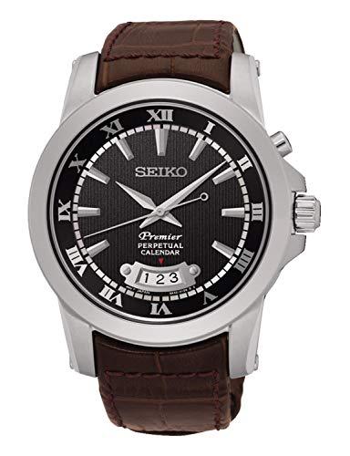 Seiko Herren Analog Quarz Uhr mit Leder Armband SNQ149P1