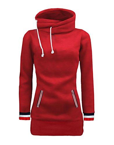 Sweat Femme Sport Automne Hiver Chaud Vintage Young Mode Casual Manche Longue Haute Cou Slim Splicing À Rayures Désinvolte Sweats Sweatshirts Survêtement Tops Rouge