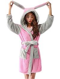Albornoz Suave para Niños Calentar Ropa de Dormir Cómoda Albornoces Dibujos Animados Animales Pijamas 3-