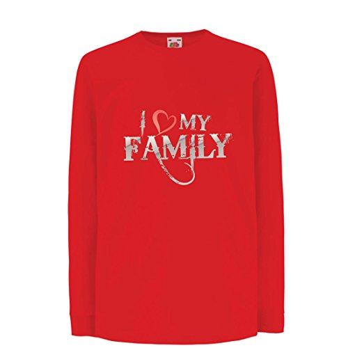 Camisetas de Manga Larga para Niño Camisas de diseñador únicas Muestran tu Amor: increíbles Conjuntos a Juego con la Familia (12-13 Years Rojo