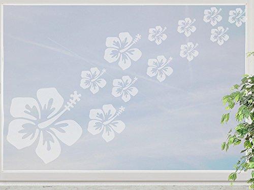 wandfabrik - Fenstersticker Hibiskus 16 Blüten im Set - frosty - 798