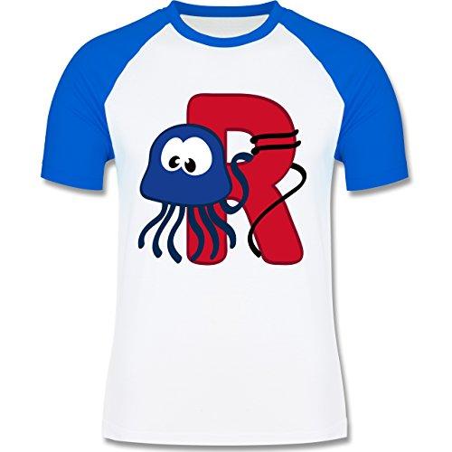 Anfangsbuchstaben - R Schifffahrt - zweifarbiges Baseballshirt für Männer Weiß/Royalblau