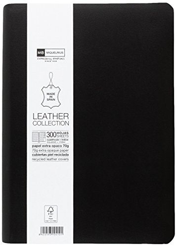 basicos-mr-10410-flexible-skin-notebook-4th-300-sheets-squared-with-index-with-rubber-black