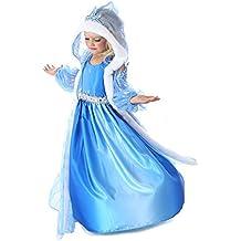 Frozen - Traje de princesa para las niñas - de 3 piezas - con el cabo - Azul - Talla 122-128 (130 cm)
