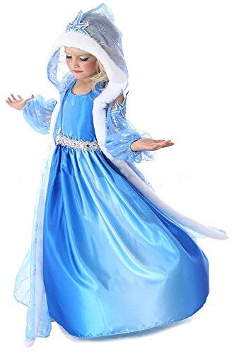 Mädchen 3-teiliges Eiskönigin / Schneeprinzessin Kostüm mit Umhang - Blau - Gr. 130 (122-128)